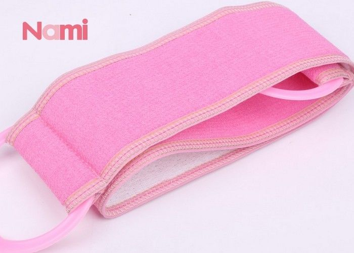 Pink Washable Back Scrubber Belt Size 70 * 10 Cm With Various Design