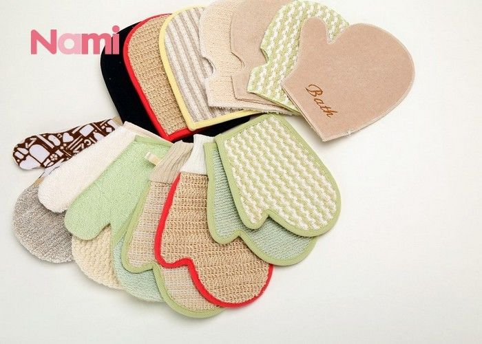 Skin Hemp Body Shop Bath Mitt , Body Shop Exfoliating Gloves Natural Green Color